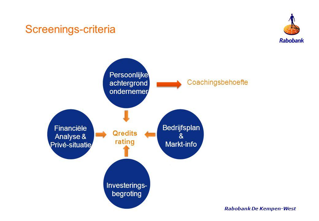 Screenings-criteria Coachingsbehoefte Qredits rating Persoonlijke achtergrond ondernemer Bedrijfsplan & Markt-info Investerings- begroting Financiële