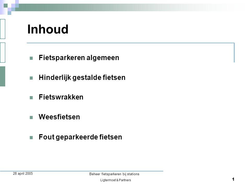 Ligtermoet & Partners Beheer fietsparkeren bij stations 12 28 april 2005 Vergelijking met auto niet-hinderlijk foutgeparkeerde auto niet-hinderlijk foutgeparkeerde fiets bebording en preventief toezicht redelijk gebruikelijkontbrekend toezicht, maar waarom??.