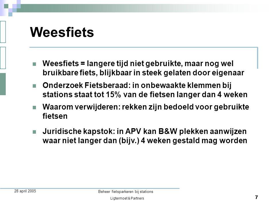 Ligtermoet & Partners Beheer fietsparkeren bij stations 8 28 april 2005  Fietsen die zijn geplaatst op plekken waarvan B&W in de APV heeft aangegeven dat ze daar niet mogen staan Foutgeparkeerde fietsen Fietsersbond is tegen fietsparkeerverboden voor (niet-hinderlijk) foutgestalde fietsen want:  bij voldoende goede rekken op de goede plaats is verbod niet nodig: men zal daar zijn fiets willen zetten  hinderlijk geplaatste fietsen mogen ook zonder fietsparkeerverbod worden weggehaald