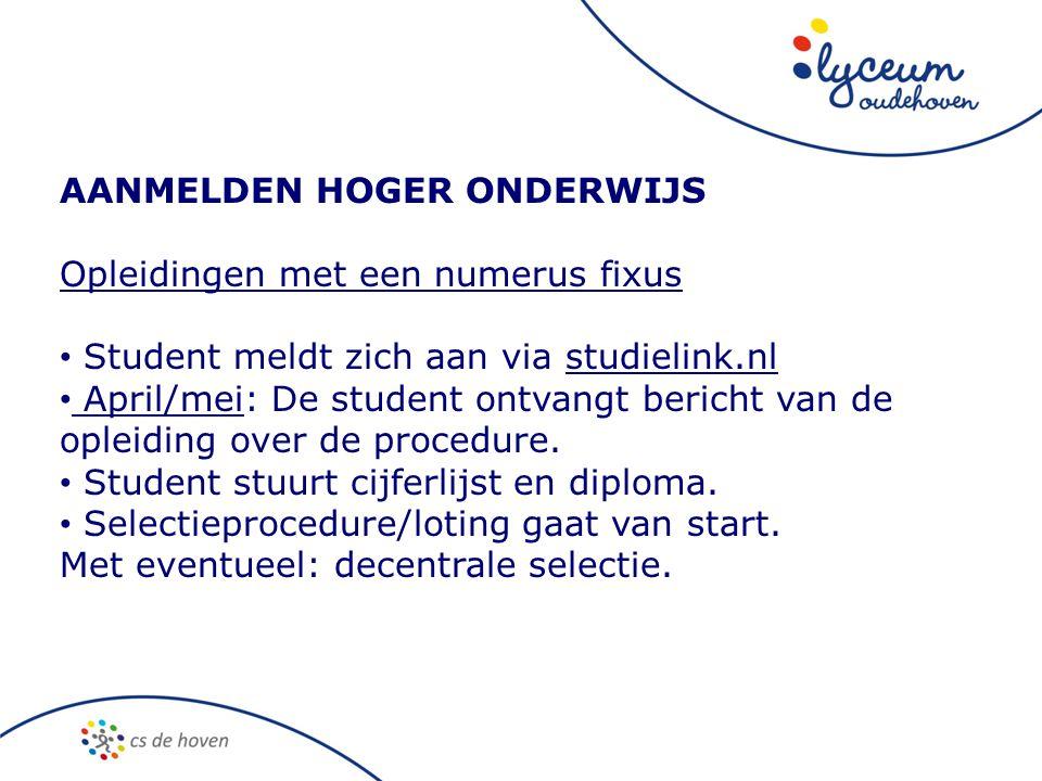 AANMELDEN HOGER ONDERWIJS Opleidingen met een numerus fixus • Student meldt zich aan via studielink.nl • April/mei: De student ontvangt bericht van de opleiding over de procedure.