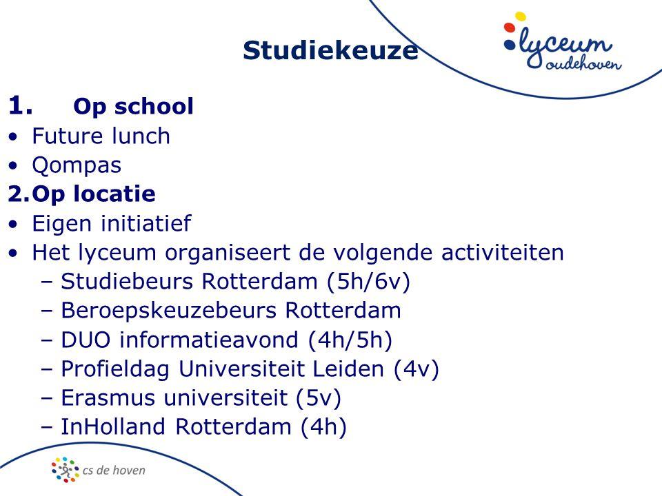 Studiekeuze 1. Op school •Future lunch •Qompas 2.Op locatie •Eigen initiatief •Het lyceum organiseert de volgende activiteiten –Studiebeurs Rotterdam