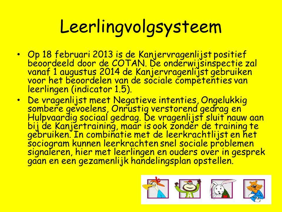 Leerlingvolgsysteem • Op 18 februari 2013 is de Kanjervragenlijst positief beoordeeld door de COTAN. De onderwijsinspectie zal vanaf 1 augustus 2014 d