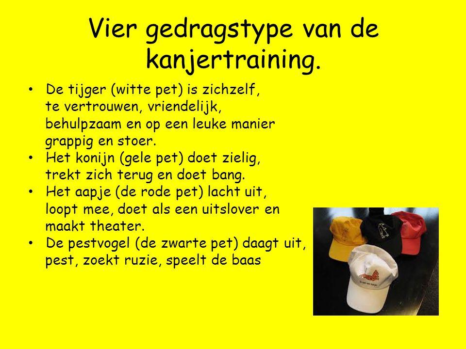 Vier gedragstype van de kanjertraining. • De tijger (witte pet) is zichzelf, te vertrouwen, vriendelijk, behulpzaam en op een leuke manier grappig en