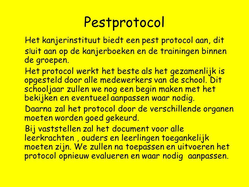 Pestprotocol Het kanjerinstituut biedt een pest protocol aan, dit s l uit aan op de kanjerboeken en de trainingen binnen de groepen. Het protocol werk