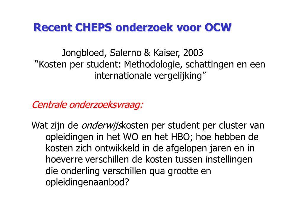 """Recent CHEPS onderzoek voor OCW Jongbloed, Salerno & Kaiser, 2003 """"Kosten per student: Methodologie, schattingen en een internationale vergelijking"""" C"""