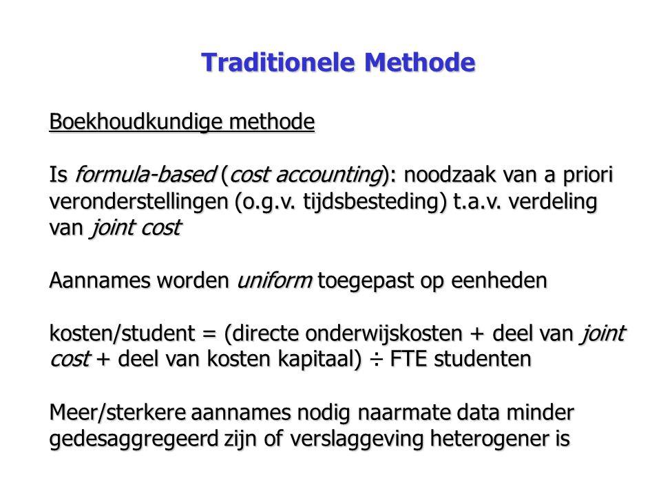 Traditionele Methode Boekhoudkundige methode Is formula-based (cost accounting): noodzaak van a priori veronderstellingen (o.g.v. tijdsbesteding) t.a.