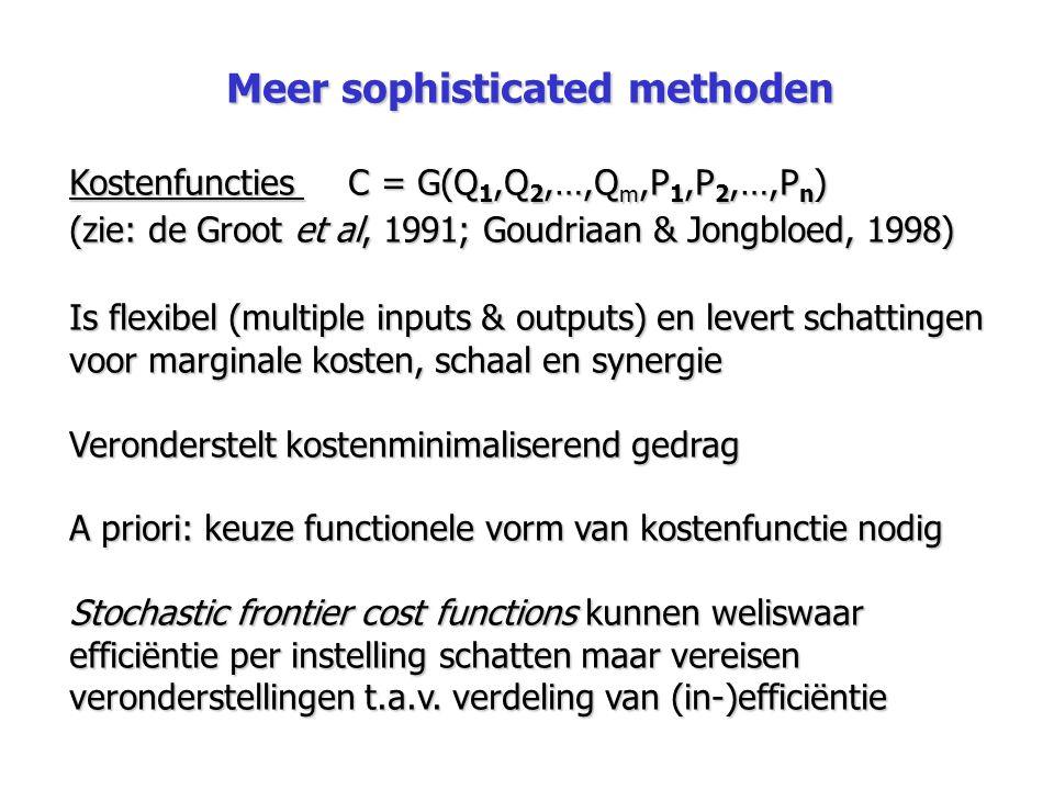 Meer sophisticated methoden Kostenfuncties C = G(Q 1,Q 2,…,Q m,P 1,P 2,…,P n ) (zie: de Groot et al, 1991; Goudriaan & Jongbloed, 1998) Is flexibel (m