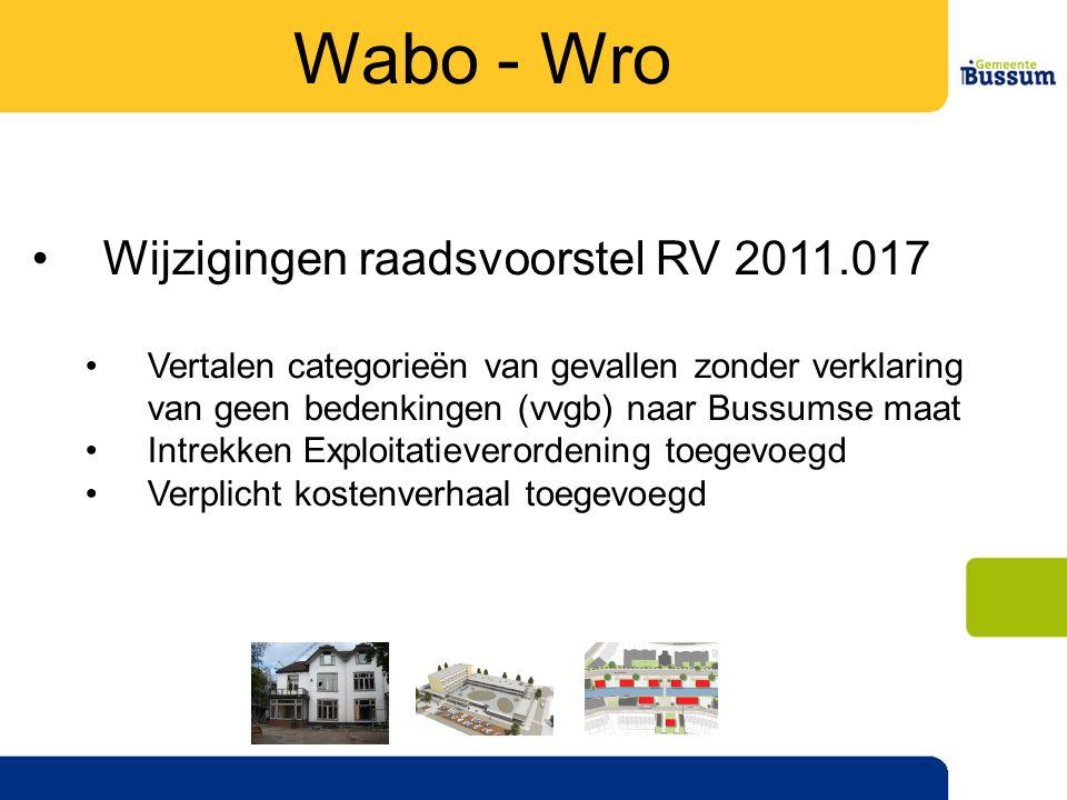 •Wijzigingen raadsvoorstel RV 2011.017 •Vertalen categorieën van gevallen zonder verklaring van geen bedenkingen (vvgb) naar Bussumse maat •Intrekken Exploitatieverordening toegevoegd •Verplicht kostenverhaal toegevoegd Wabo - Wro