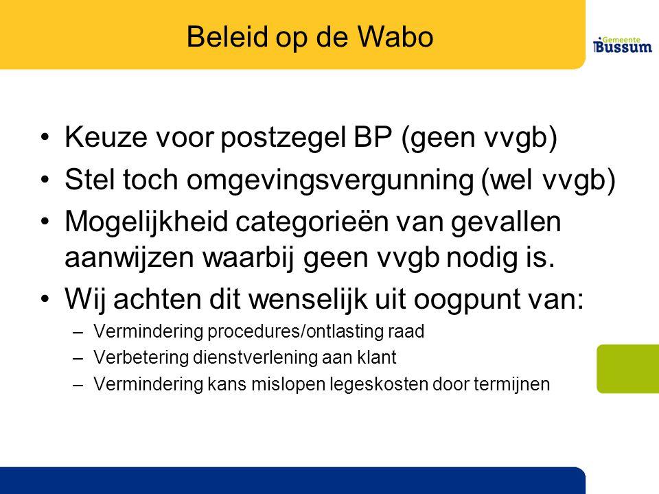 •Keuze voor postzegel BP (geen vvgb) •Stel toch omgevingsvergunning (wel vvgb) •Mogelijkheid categorieën van gevallen aanwijzen waarbij geen vvgb nodig is.