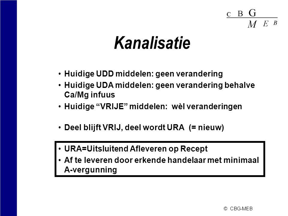 """© CBG-MEB Kanalisatie •Huidige UDD middelen: geen verandering •Huidige UDA middelen: geen verandering behalve Ca/Mg infuus •Huidige """"VRIJE"""" middelen:"""