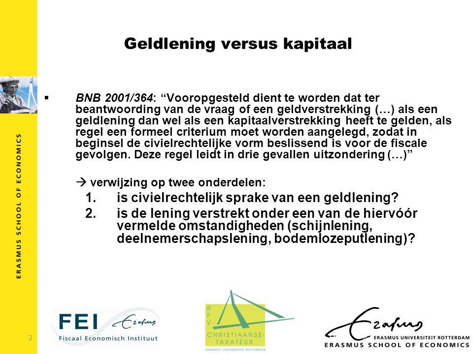 """Geldlening versus kapitaal bnb 2001/364: """"vooropgesteld dient"""