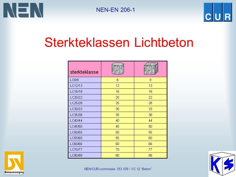 """NEN-EN 206-1 NEN/CUR-commissie 353 039 / VC 12 """"Beton"""" Sterkteklassen normaal- en zwaarbeton"""