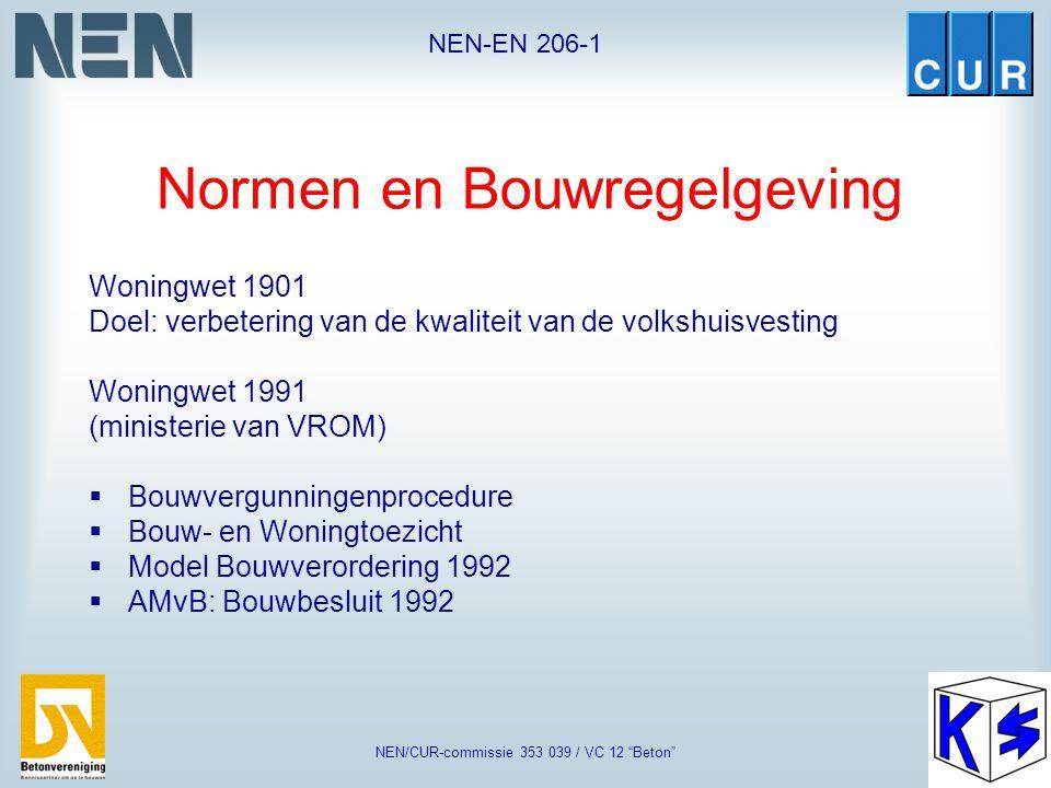 """NEN-EN 206-1 NEN/CUR-commissie 353 039 / VC 12 """"Beton"""" Wat is de rol van een norm ?  Basis voor kwaliteit  Basis voor contracten  Basis voor certif"""