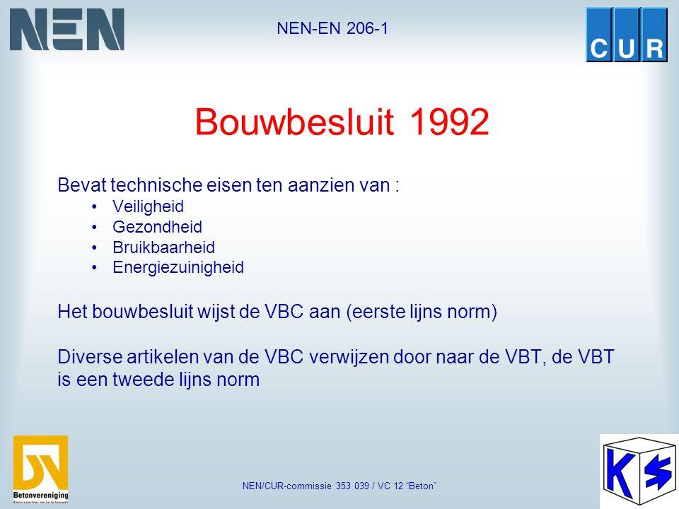 """NEN-EN 206-1 NEN/CUR-commissie 353 039 / VC 12 """"Beton"""" Normen en Bouwregelgeving Woningwet 1901 Doel: verbetering van de kwaliteit van de volkshuisves"""