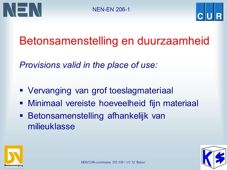"""NEN-EN 206-1 NEN/CUR-commissie 353 039 / VC 12 """"Beton"""" Poederkoolvliegas K-waarde voor de combinatie van hoogovencement en poederkoolvliegas CEM III/A"""