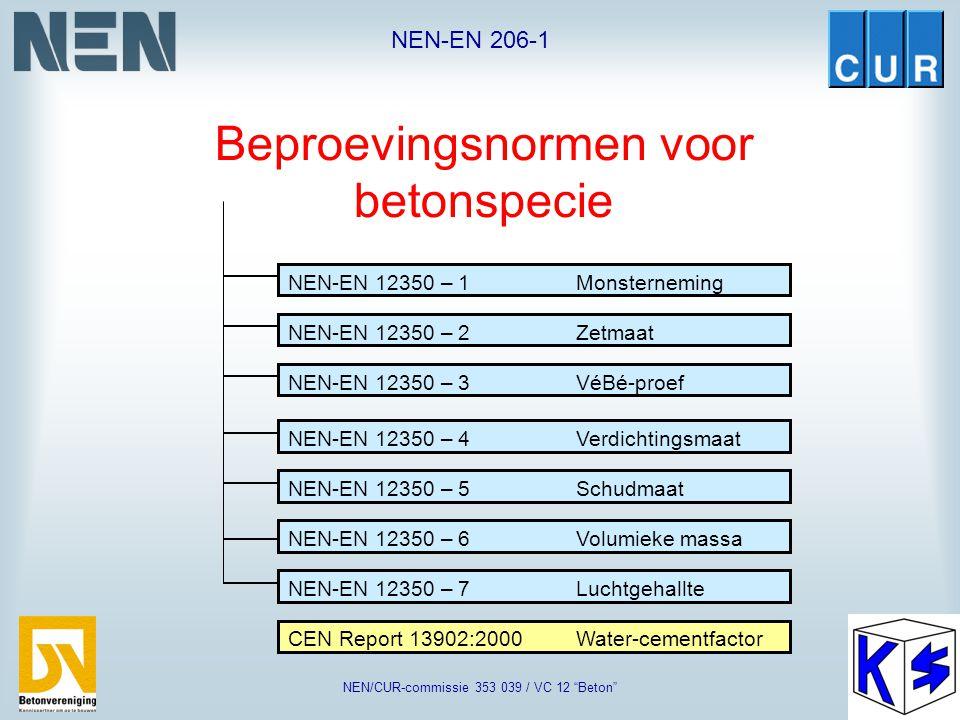 "NEN-EN 206-1 NEN/CUR-commissie 353 039 / VC 12 ""Beton"" Samenstelling van beton: Grondstoffen NEN-EN 197-1Cement NEN-EN 450Vliegas prEN 13263:1998Silic"