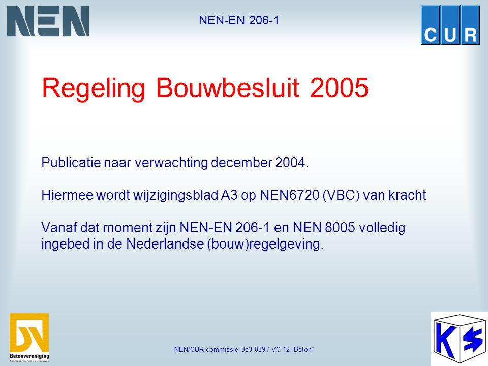 """NEN-EN 206-1 NEN/CUR-commissie 353 039 / VC 12 """"Beton"""" Regeling Bouwbesluit 2003, is onderdeel van Woningwet (1991) Bevat technische eisen ten aanzien"""