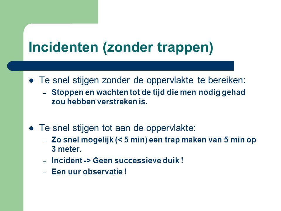 Incidenten (zonder trappen)  Te snel stijgen zonder de oppervlakte te bereiken: – Stoppen en wachten tot de tijd die men nodig gehad zou hebben verst