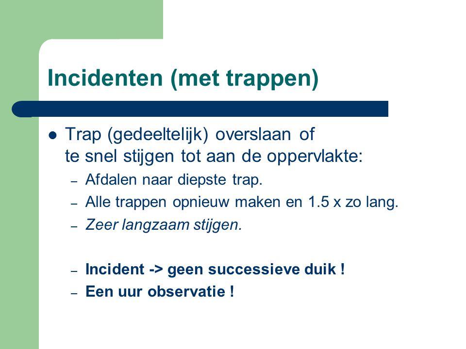 Incidenten (met trappen)  Trap (gedeeltelijk) overslaan of te snel stijgen tot aan de oppervlakte: – Afdalen naar diepste trap. – Alle trappen opnieu