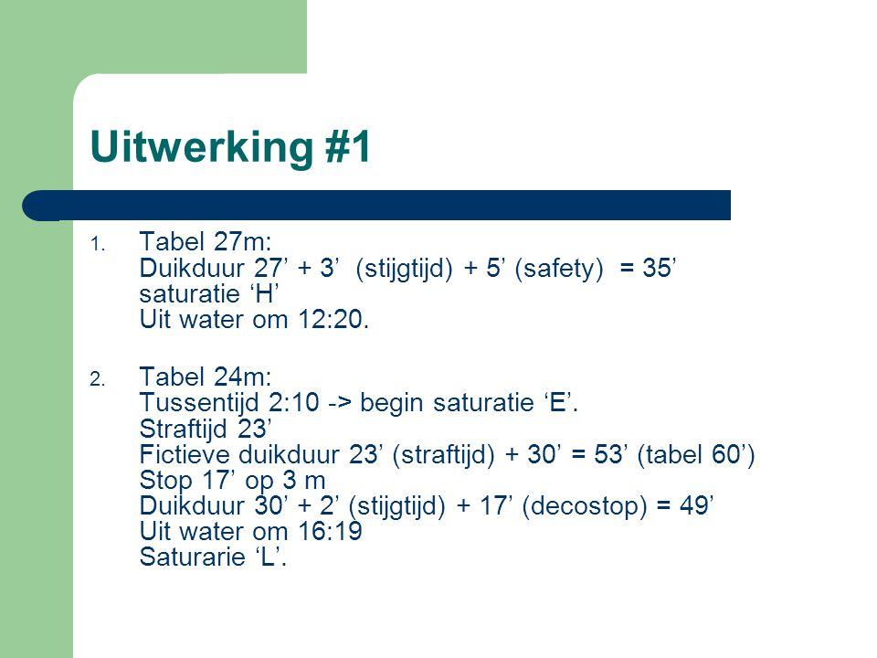 Uitwerking #1 1. Tabel 27m: Duikduur 27' + 3' (stijgtijd) + 5' (safety) = 35' saturatie 'H' Uit water om 12:20. 2. Tabel 24m: Tussentijd 2:10 -> begin