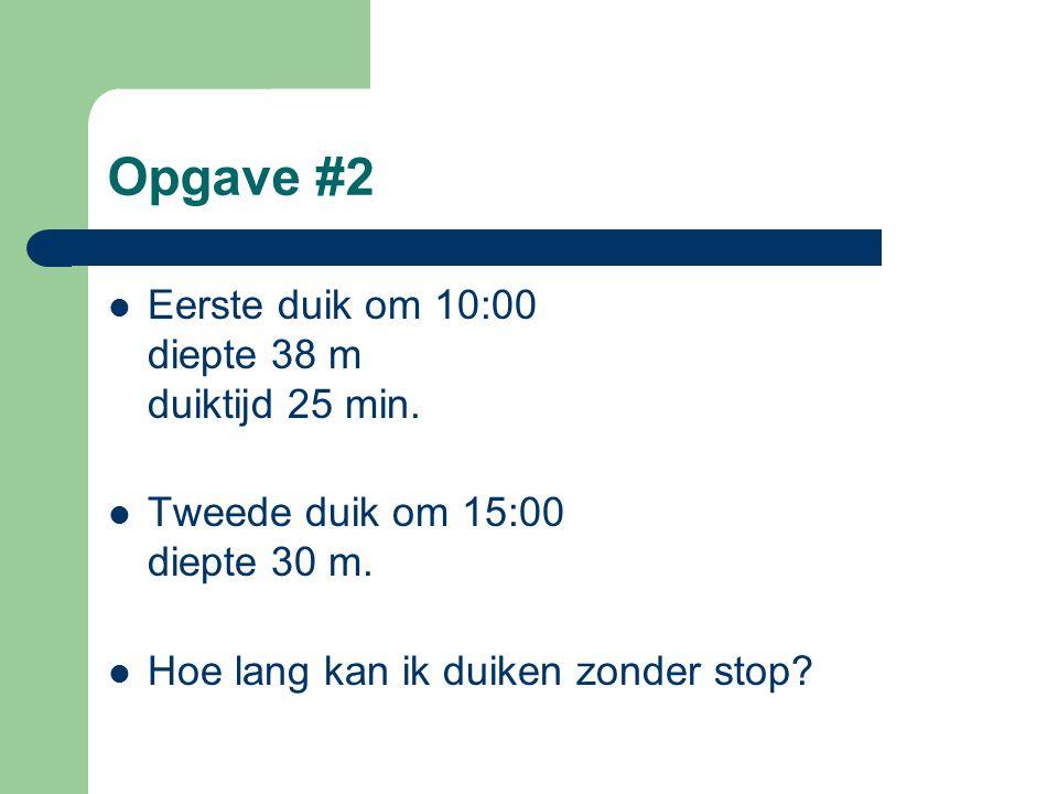 Opgave #2  Eerste duik om 10:00 diepte 38 m duiktijd 25 min.  Tweede duik om 15:00 diepte 30 m.  Hoe lang kan ik duiken zonder stop?