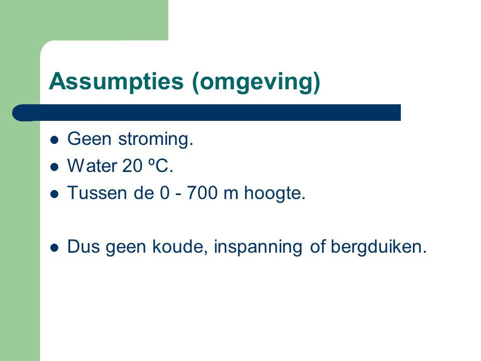 Assumpties (omgeving)  Geen stroming.  Water 20 ºC.  Tussen de 0 - 700 m hoogte.  Dus geen koude, inspanning of bergduiken.