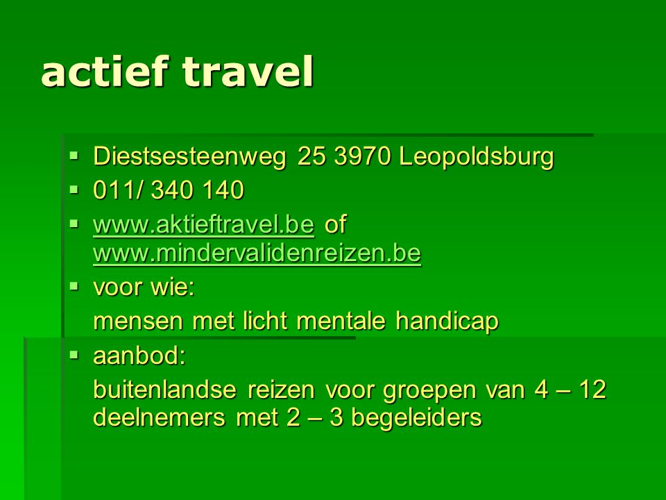 actief travel  Diestsesteenweg 25 3970 Leopoldsburg  011/ 340 140  www.aktieftravel.be of www.mindervalidenreizen.be www.aktieftravel.be www.minder