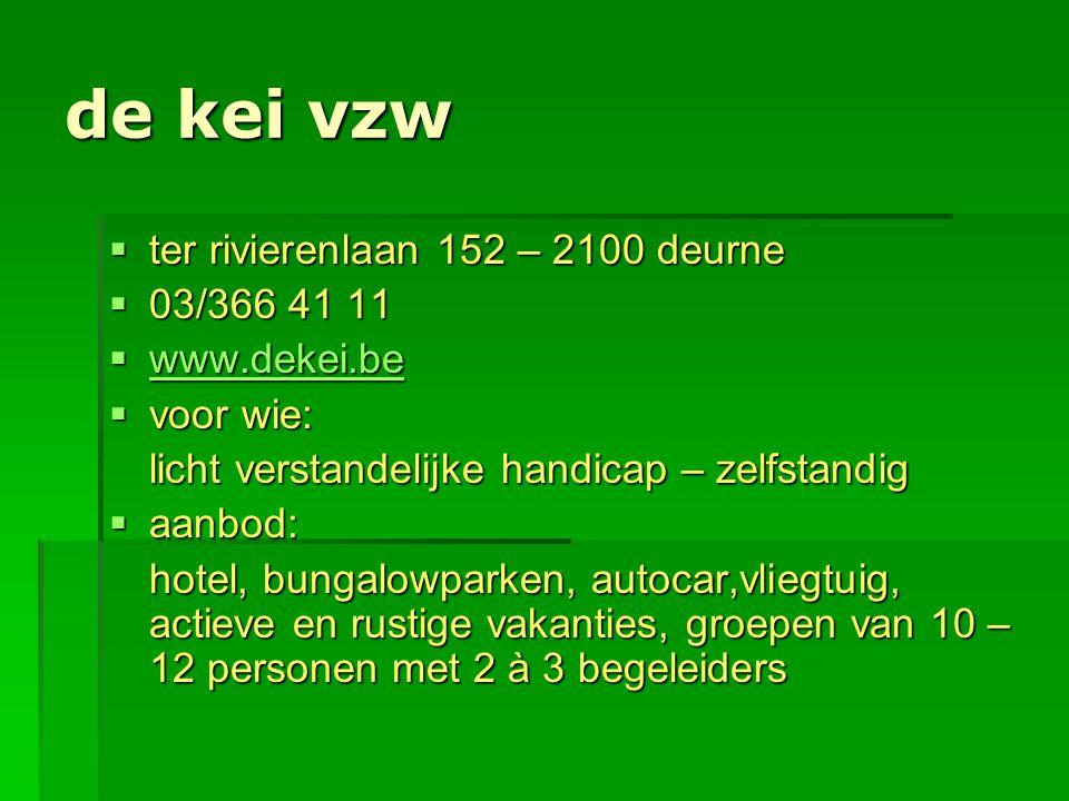 de kei vzw  ter rivierenlaan 152 – 2100 deurne  03/366 41 11  www.dekei.be www.dekei.be  voor wie: licht verstandelijke handicap – zelfstandig  a