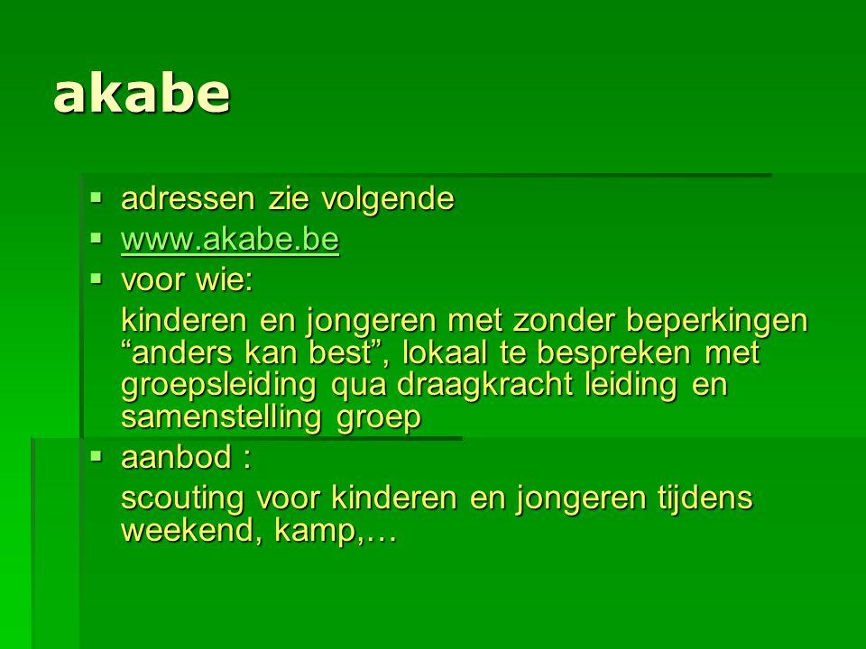 """akabe  adressen zie volgende  www.akabe.be www.akabe.be  voor wie: kinderen en jongeren met zonder beperkingen """"anders kan best"""", lokaal te besprek"""