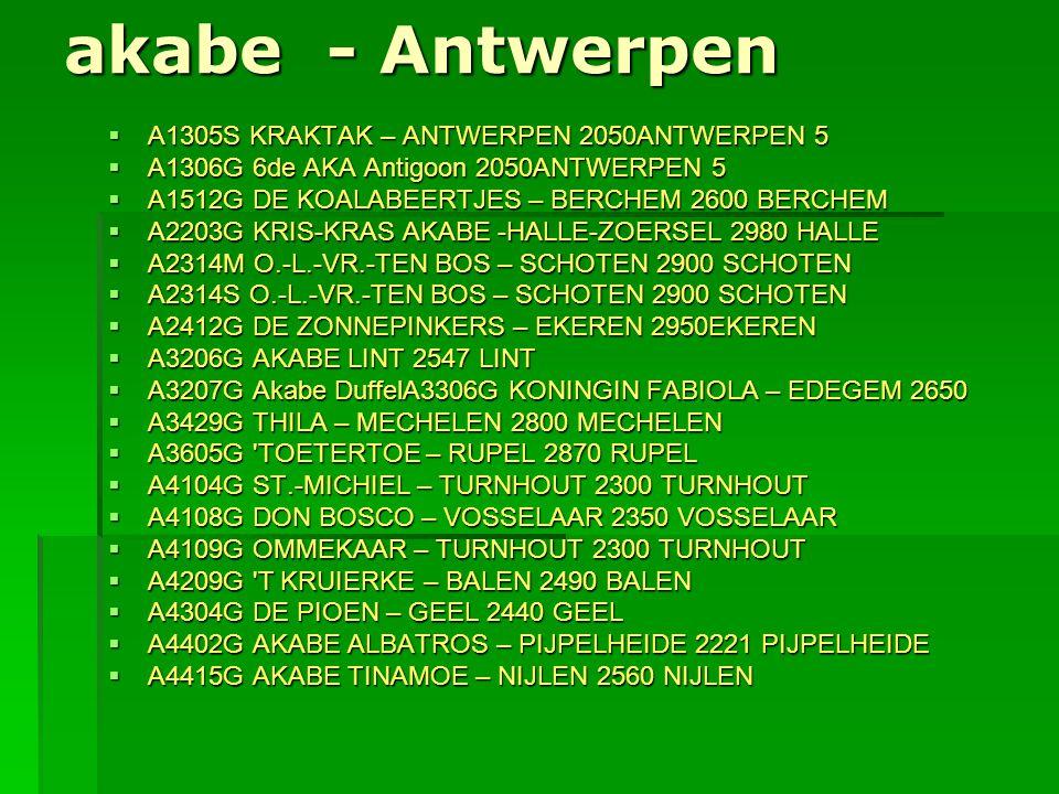akabe - Antwerpen  A1305S KRAKTAK – ANTWERPEN 2050ANTWERPEN 5  A1306G 6de AKA Antigoon 2050ANTWERPEN 5  A1512G DE KOALABEERTJES – BERCHEM 2600 BERC