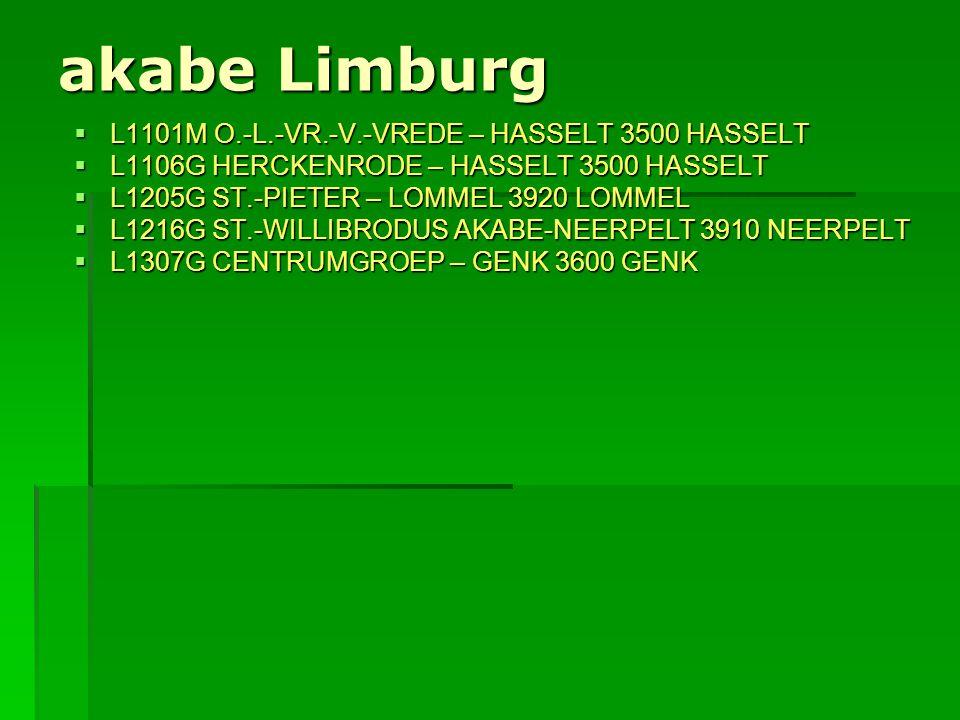 akabe Limburg  L1101M O.-L.-VR.-V.-VREDE – HASSELT 3500 HASSELT  L1106G HERCKENRODE – HASSELT 3500 HASSELT  L1205G ST.-PIETER – LOMMEL 3920 LOMMEL