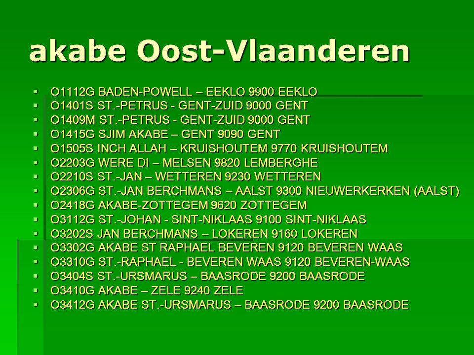 akabe Oost-Vlaanderen  O1112G BADEN-POWELL – EEKLO 9900 EEKLO  O1401S ST.-PETRUS - GENT-ZUID 9000 GENT  O1409M ST.-PETRUS - GENT-ZUID 9000 GENT  O
