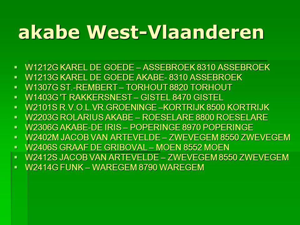 akabe West-Vlaanderen  W1212G KAREL DE GOEDE – ASSEBROEK 8310 ASSEBROEK  W1213G KAREL DE GOEDE AKABE- 8310 ASSEBROEK  W1307G ST.-REMBERT – TORHOUT