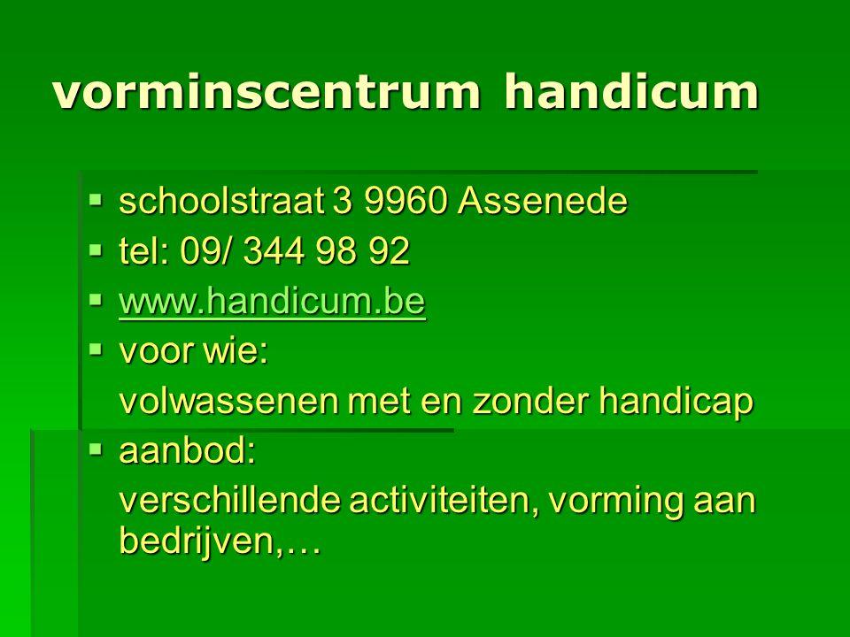 vorminscentrum handicum  schoolstraat 3 9960 Assenede  tel: 09/ 344 98 92  www.handicum.be www.handicum.be  voor wie: volwassenen met en zonder ha