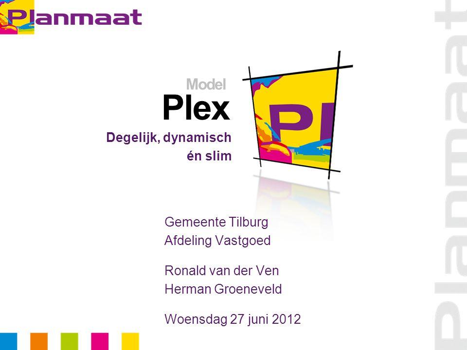 Plex Degelijk, dynamisch én slim Model Gemeente Tilburg Afdeling Vastgoed Ronald van der Ven Herman Groeneveld Woensdag 27 juni 2012