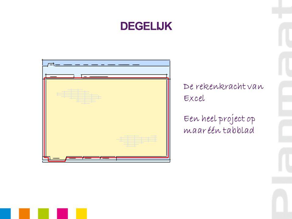 DEGELIJK De rekenkracht van Excel Een heel project op maar één tabblad