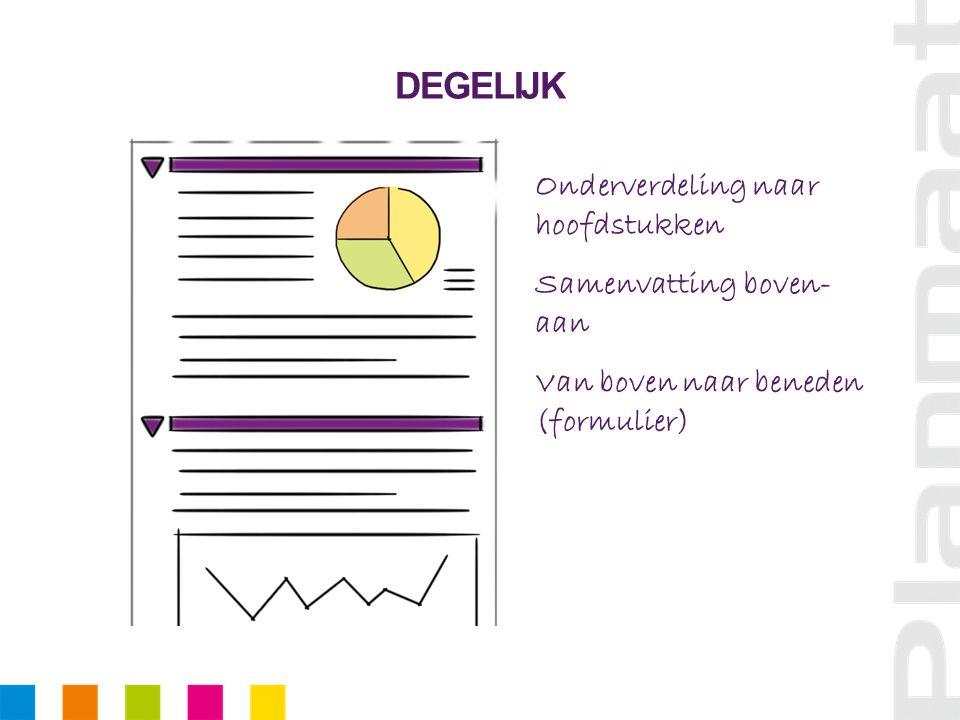 DEGELIJK Onderverdeling naar hoofdstukken Samenvatting boven- aan Van boven naar beneden (formulier)