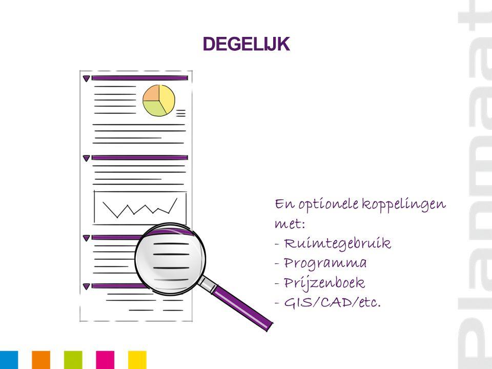DEGELIJK En optionele koppelingen met: - Ruimtegebruik - Programma - Prijzenboek - GIS/CAD/etc.