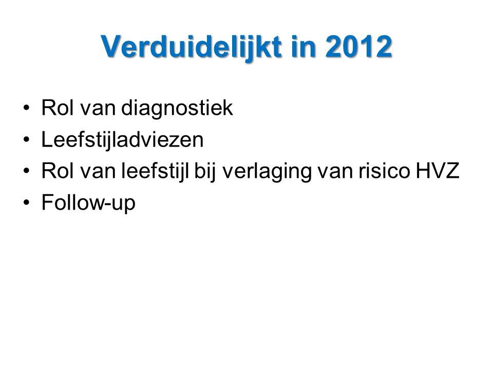 Verduidelijkt in 2012 •Rol van diagnostiek •Leefstijladviezen •Rol van leefstijl bij verlaging van risico HVZ •Follow-up