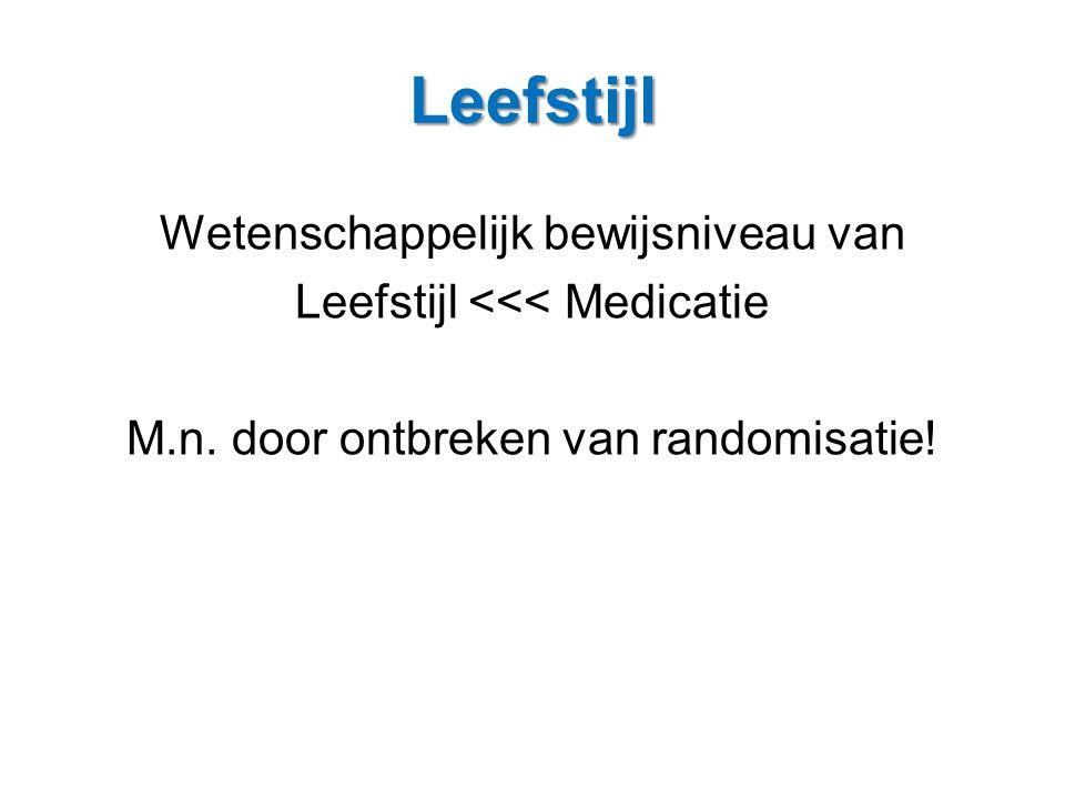 Leefstijl Wetenschappelijk bewijsniveau van Leefstijl <<< Medicatie M.n. door ontbreken van randomisatie!