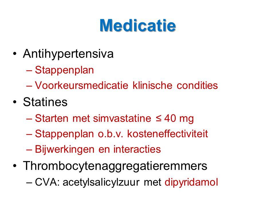 Medicatie •Antihypertensiva –Stappenplan –Voorkeursmedicatie klinische condities •Statines –Starten met simvastatine ≤ 40 mg –Stappenplan o.b.v. koste
