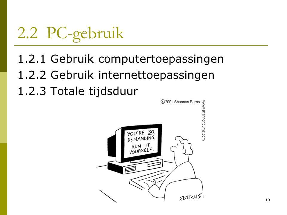 13 2.2 PC-gebruik 1.2.1 Gebruik computertoepassingen 1.2.2 Gebruik internettoepassingen 1.2.3 Totale tijdsduur