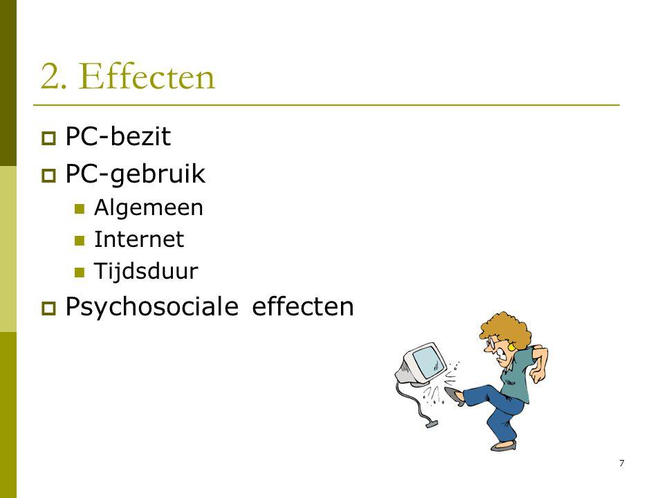 7 2. Effecten  PC-bezit  PC-gebruik  Algemeen  Internet  Tijdsduur  Psychosociale effecten