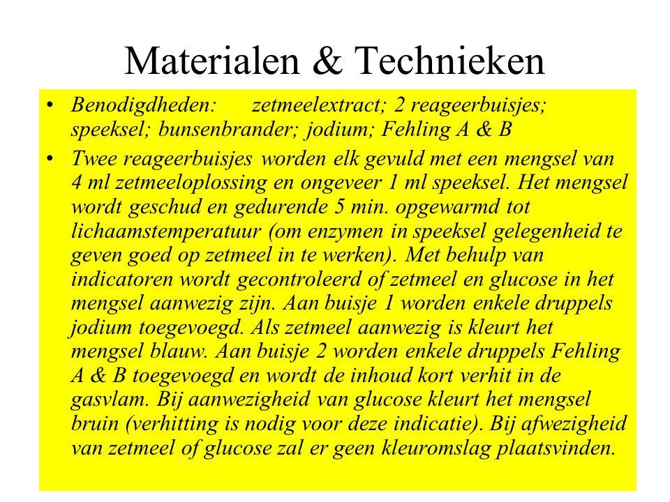 Materialen & Technieken •Benodigdheden: zetmeelextract; 2 reageerbuisjes; speeksel; bunsenbrander; jodium; Fehling A & B •Twee reageerbuisjes worden e