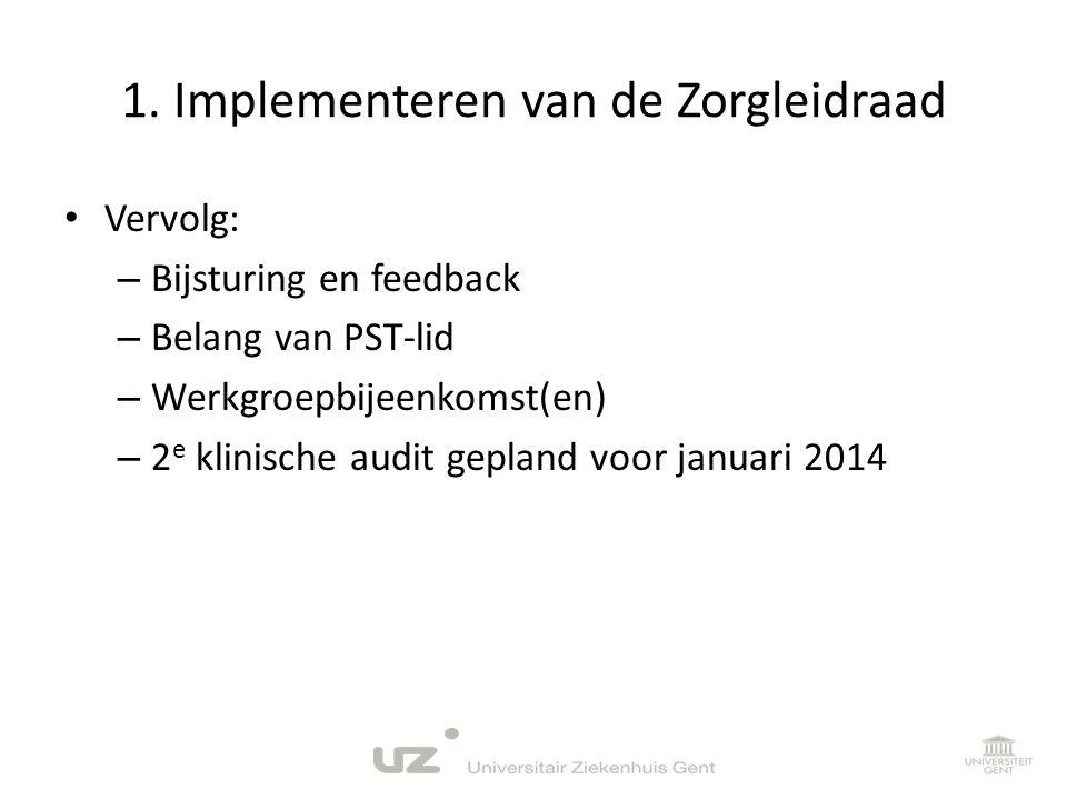 1. Implementeren van de Zorgleidraad • Vervolg: – Bijsturing en feedback – Belang van PST-lid – Werkgroepbijeenkomst(en) – 2 e klinische audit gepland