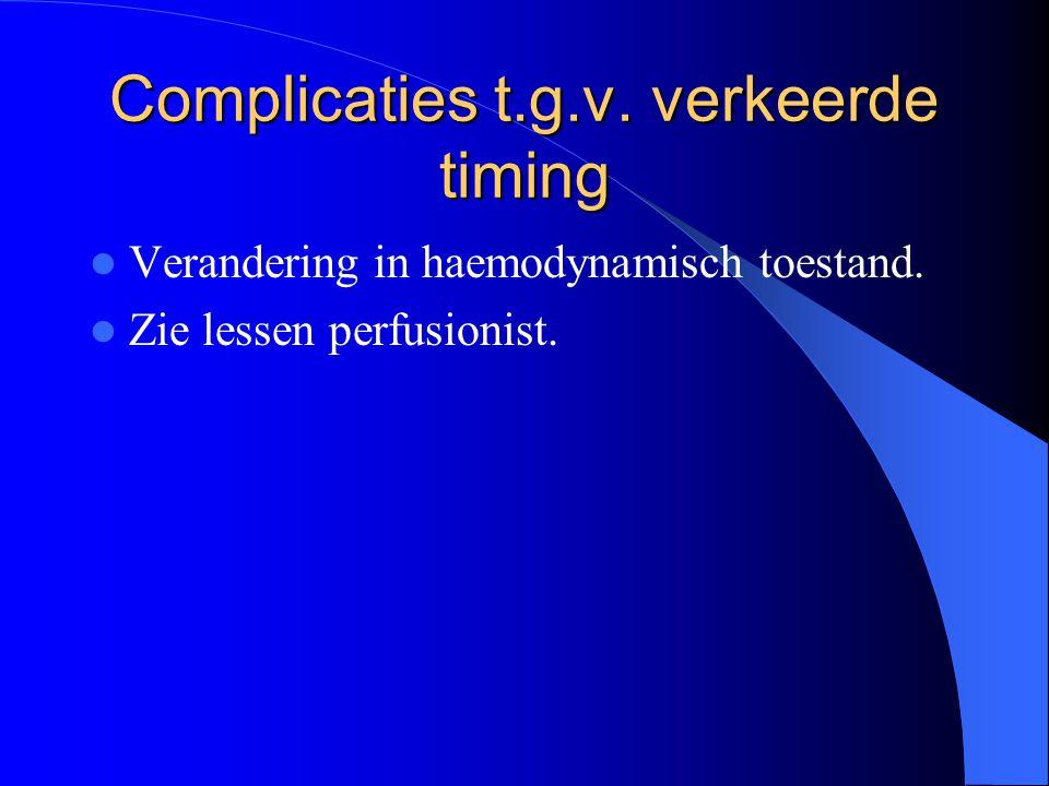 Complicaties t.g.v.verkeerde timing  Verandering in haemodynamisch toestand.