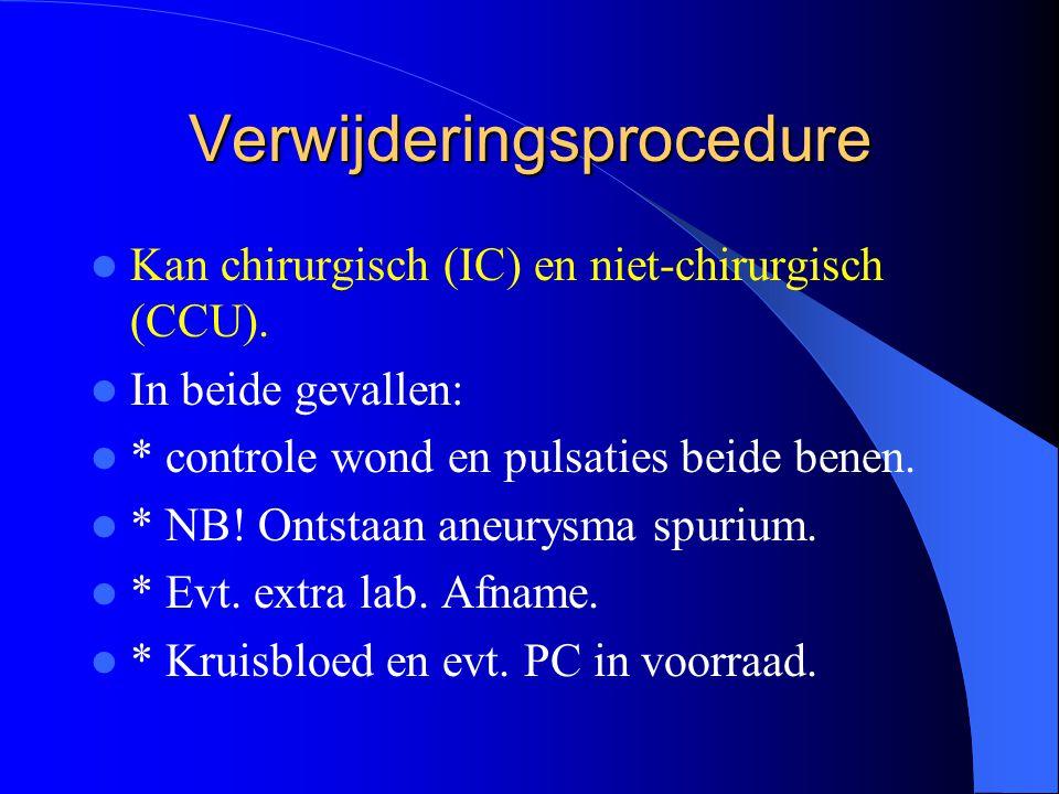 Verwijderingsprocedure  Kan chirurgisch (IC) en niet-chirurgisch (CCU).