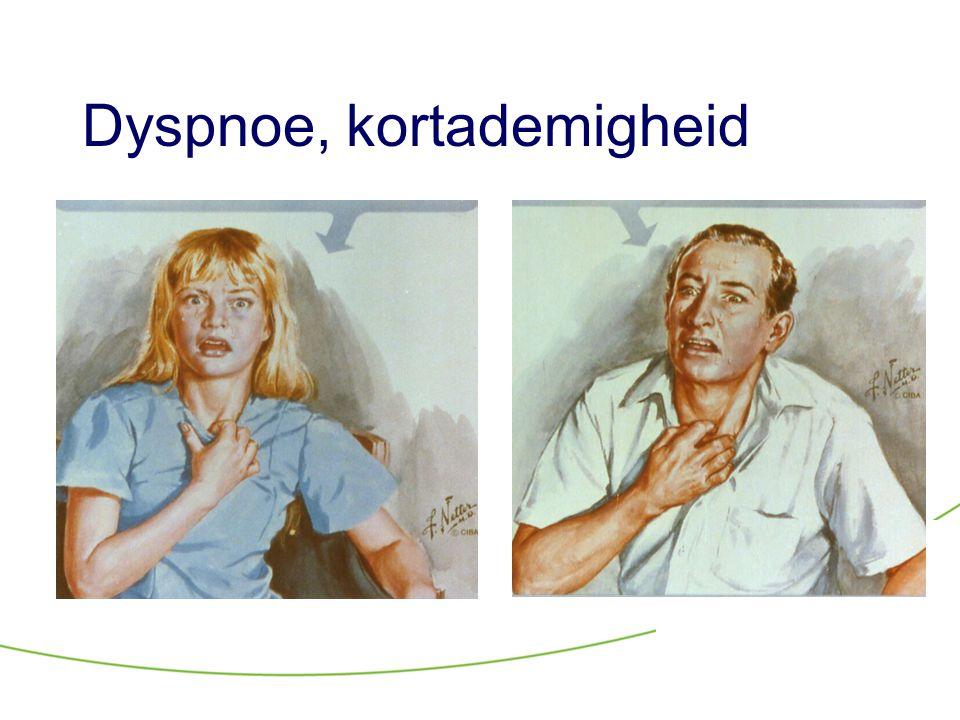 Behandeling hyperventilatie •Geruststelling, inzicht geven in het probleem en de prognose •(Dode ruimte vergroten) •Controle verkijgen over de ademhaling Bewuste afname ademfrequentie Training buikademhaling •Angst verminderen Psychotherapie Medicamenteus (benzodiazepines, SSRIs)