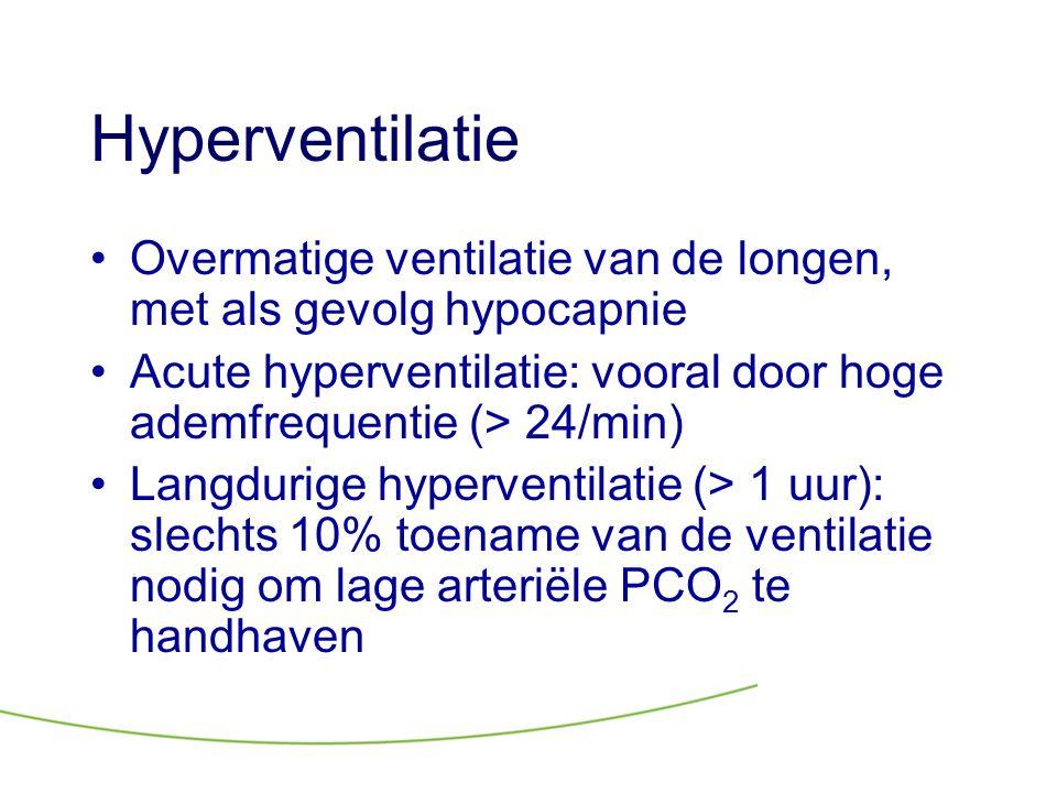 Hyperventilatie •Overmatige ventilatie van de longen, met als gevolg hypocapnie •Acute hyperventilatie: vooral door hoge ademfrequentie (> 24/min) •La