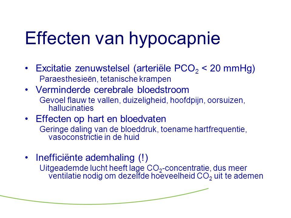 Effecten van hypocapnie •Excitatie zenuwstelsel (arteriële PCO 2 < 20 mmHg) Paraesthesieën, tetanische krampen •Verminderde cerebrale bloedstroom Gevo